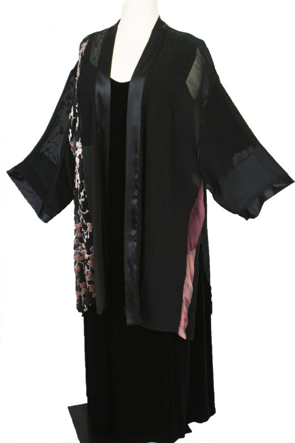 Plus Size Special Occasion Kimono Jacket Wearable Art Black, Pink, Silver Silk