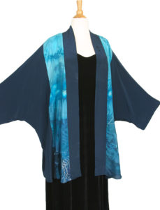 Plus Size Special Occasion Kimono Jacket Aqua Turquoise Blue Silver Handpainted Silk