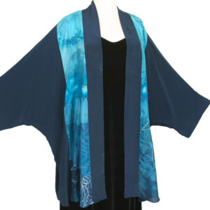 Plus Special Occasion Kimono Jacket Aqua Turquoise Blue Silver Handpainted Silk Sizes 26 – 36