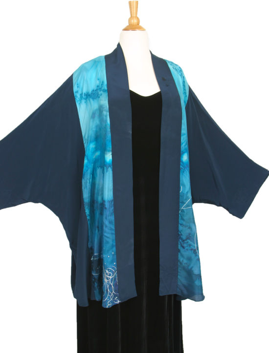 Plus Size Special Occasion Kimono Jacket Aqua Turquoise Blue Silver Handpainted Silk