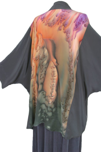 Plus Size Special Occasion Kimono Jacket Joslin Salt Dyed Silk Crepe Pearl Pink Grey