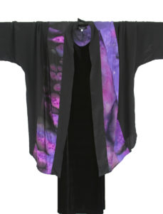 Plus Size Special Occasion Kimono Jacket Joslin Salt Dyed Silk Crepe Purples