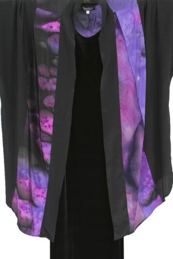 Plus Size Special Occasion Kimono Jacket Joslin Salt Dyed Silk Crepe Purples