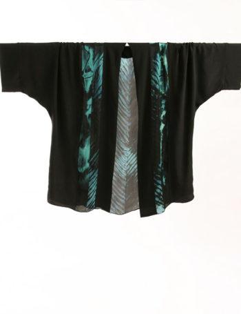 Plus Size Mother of Bride Special Occasion Jacket Turquoise Black Hand Dyed Joslin Shibori Kimono Jacket