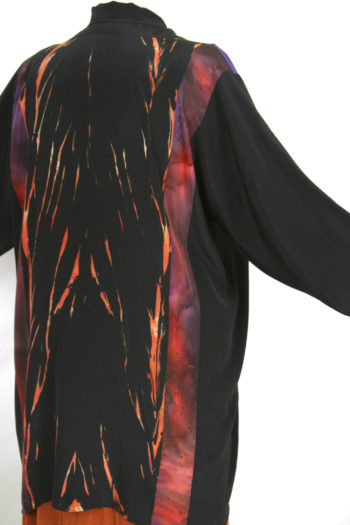Plus Size Special Occasion Jacket Persimmon Purple Black Hand Dyed Joslin Shibori Kimono 26/28