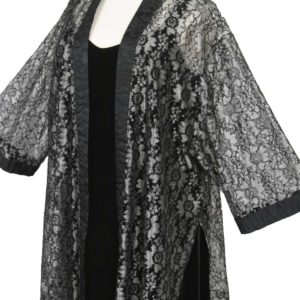 Mother of Bride Kimono Jacket Metallic Lace Silver Grey Black Sizes 14 – 36