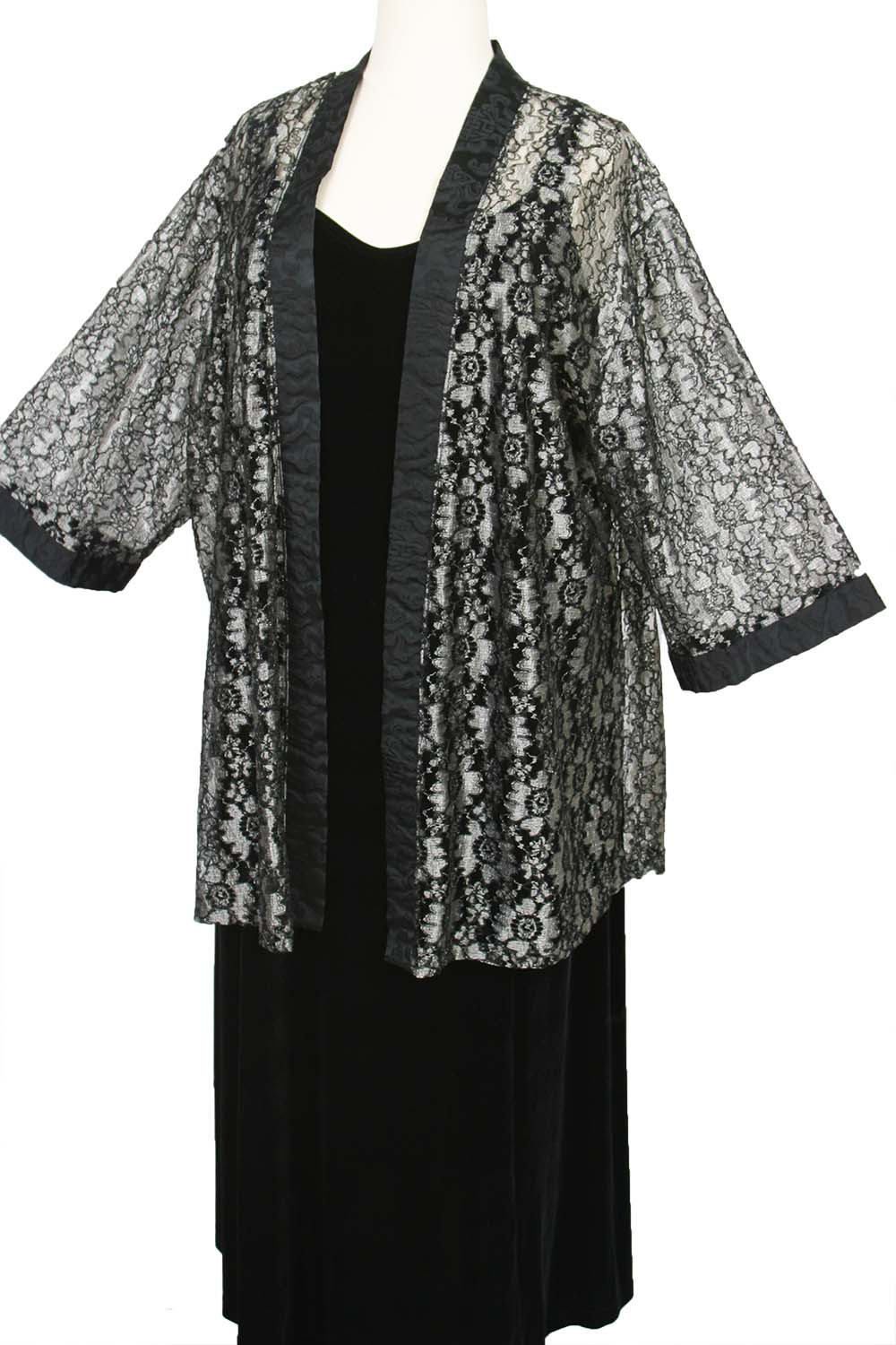 Plus Size Mother Of Bride Jacket Metallic Lace Silver Grey