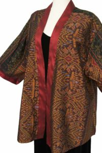Plus Size Special Occasion Kimono Jacket Hand Woven Silk Burgundy Black Gold