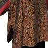 Plus Size Special Occasion Kimono Jacket Hand Woven Silk Burgundy Black Gold