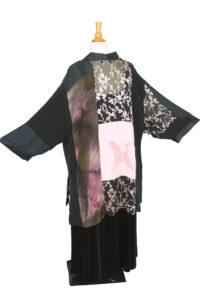 Plus Size Special Occasion Kimono Jacket Wearable Art Black, Pink, Silver Silk