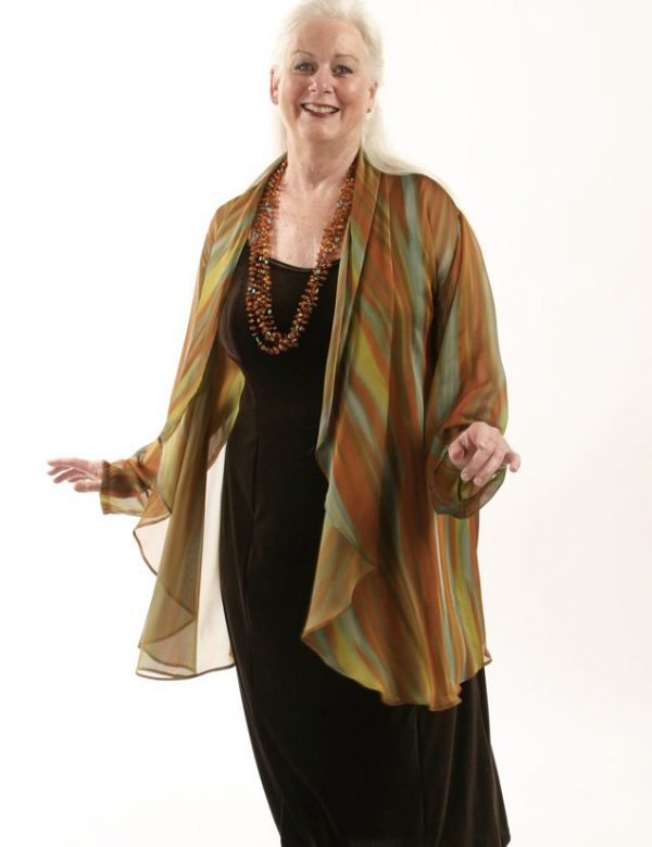 Plus Size Special Occasion Drape Jacket Naturals Stripes Silk Sizes 14 – 32