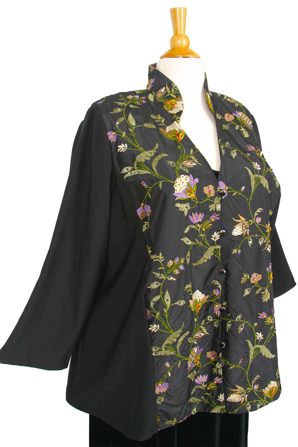 62a26934403 Plus Size Special Occasion Mandarin Jacket Black Ivory Green Purple  Embroidered Beaded Silk