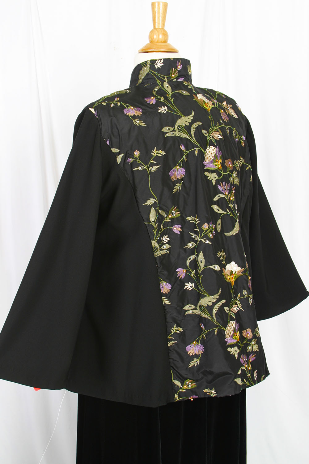 6d50da22db5 Plus Size Special Occasion Mandarin Jacket Black Ivory Green Purple  Embroidered Beaded Silk
