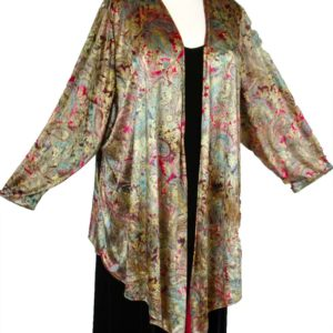 Plus Size Special Occasion Scarf Jacket Vintage Paisley Panne Velvet Gold Burgundy Green