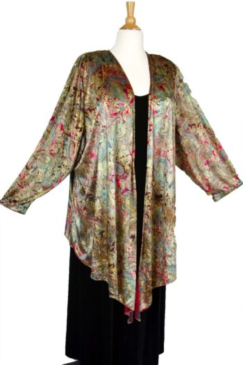 Special Occasion Jacket Paisley Panne Velvet Gold Burgundy Green Sizes 14 - 36