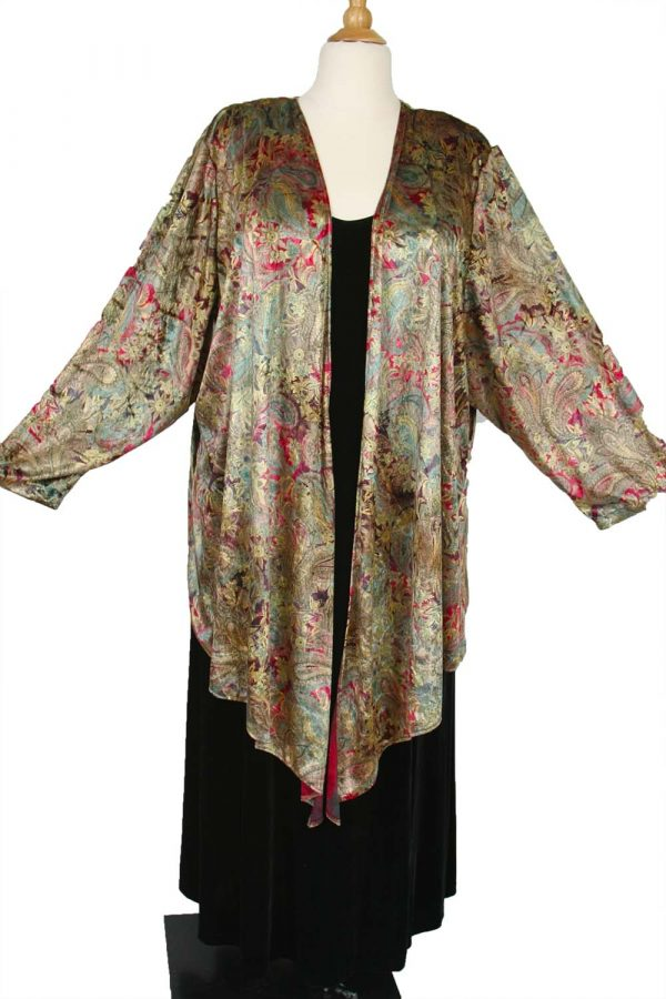 Special Occasion Jacket Paisley Panne Velvet Gold Burgundy Green Sizes 14 – 36