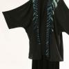 Plus Size Mother of Bride Special Occasion Jacket Turquoise Black Hand Dyed Joslin Shibori Kimono
