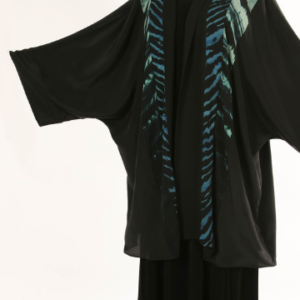 Plus Size Mother of Bride Special Occasion Jacket Turquoise Black Hand Dyed Joslin Shibori Kimono