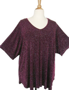 Shell Top Dark Burgundy with Silver Sparkle Slinky Sizes 22/24, 26/28, 30/32