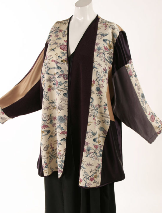 Mother of Bride Jacket Ivory Burgundy Gold Japan Print Artwear Size 22/24