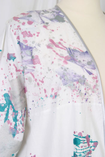Mother Bride BoHo Jacket Pink Plum Green Handpainted White Cotton Size 22/24