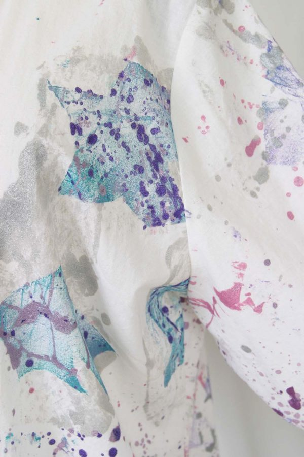 Mother Bride BoHo Jacket Pink Plum Green Handpainted White Cotton Size 22/24