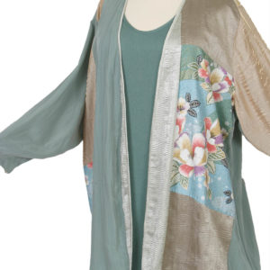 Mother Bride Dressy Jacket Artwear Champagne Sage Silver Japan Print Size 26/28