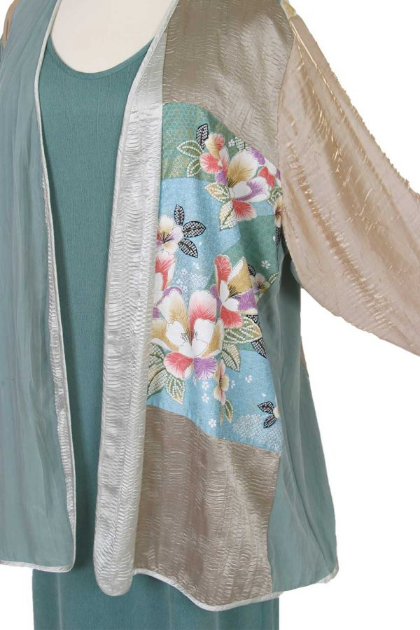 DPlus Size Mother Bride Dressy Jacket Artwear Champagne Sage Silver Japan Print Size 26/28