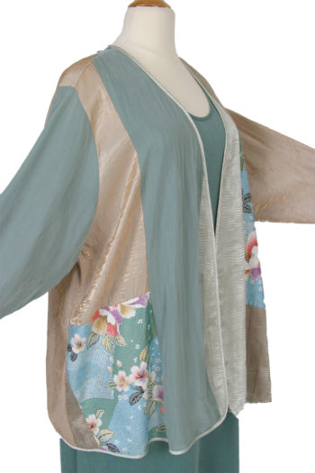Plus Size Mother Bride Dressy Jacket Artwear Champagne Sage Silver Japan Print Size 26/28
