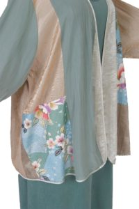 Plus Size Mother Bride Dressy Jacket Artwear Champagne Sage Silver Japan Print Size 26/28