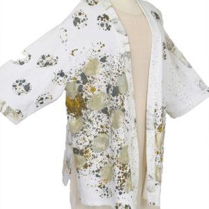 Special Occasion Kimono Jacket Wearable Art White Black Taupe Grey Size 26/28