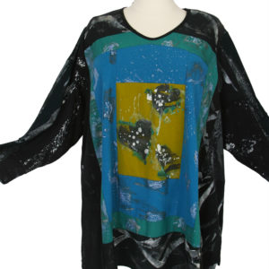 Tee Shirt Hearts Handainted Cotton Interlock Black Turquoise Antique Gold Size 30/32