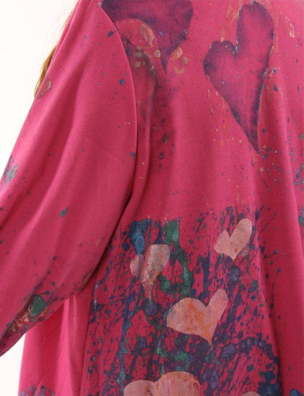 Hearts Dressy Jacket Hot Pink Teal Purple Handpainted Artwear Size 22/24