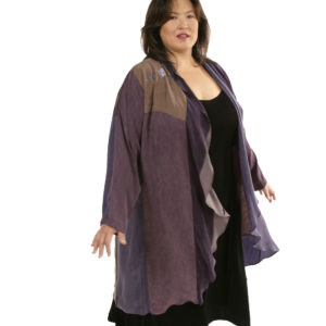 Plus Size Occasion Boho Coat Artwear Purple Silver 22/24