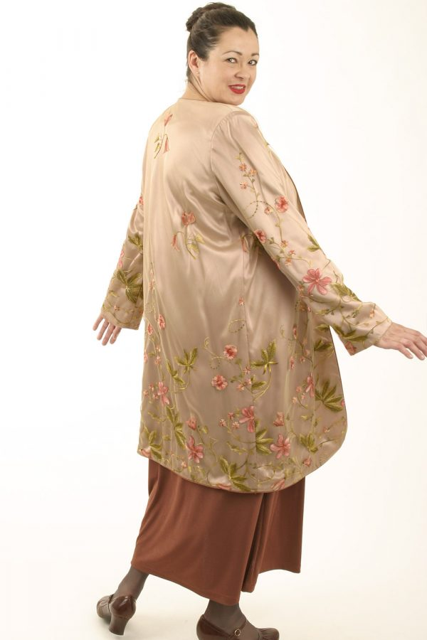 Custom Special Occasion Coat French Embroidered Pink Peach Beige Sizes 14 -32