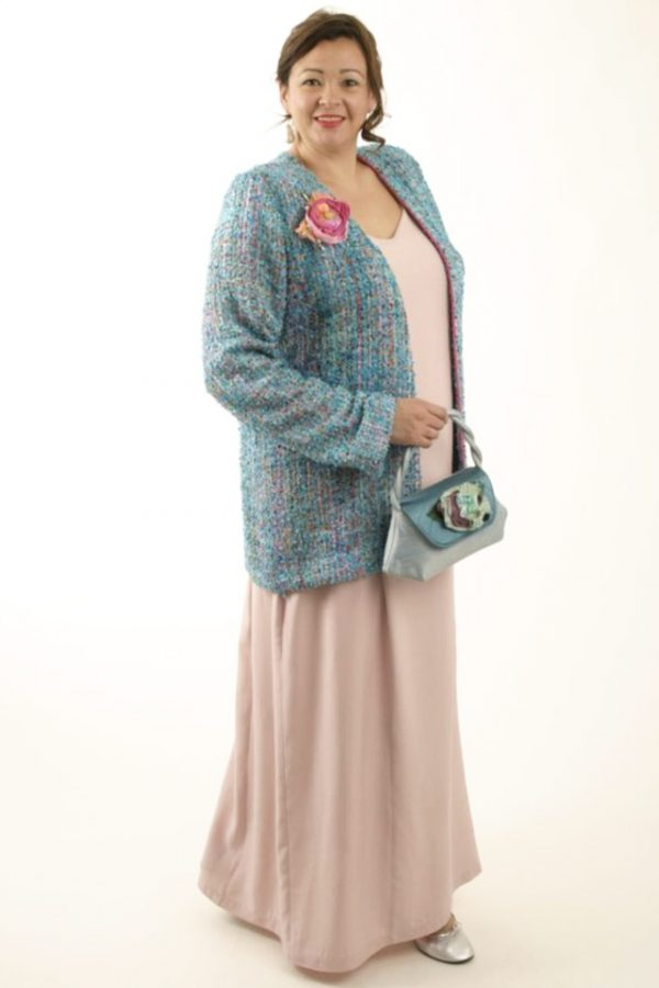 Special Occasion Jacket Chanel Silk Weave Turquoise Amber Pink Sizes 14 – 32