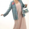 Special Occasion Jacket Chanel Silk Weave Turquoise Amber Pink Sizes 14 - 32