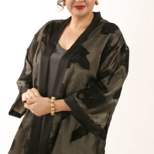 Plus Size Dressy Kimono Jacket Black Grey French Silk 14-32