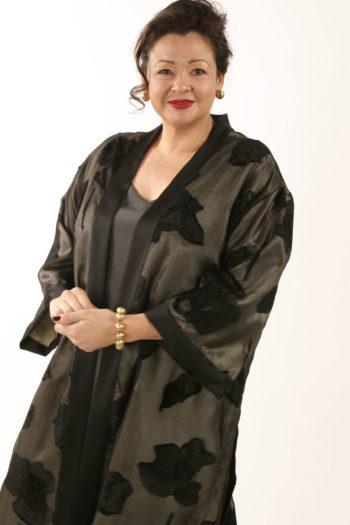Plus Size Designer Dressy Kimono Jacket Black Grey Silk Sizes 14-32