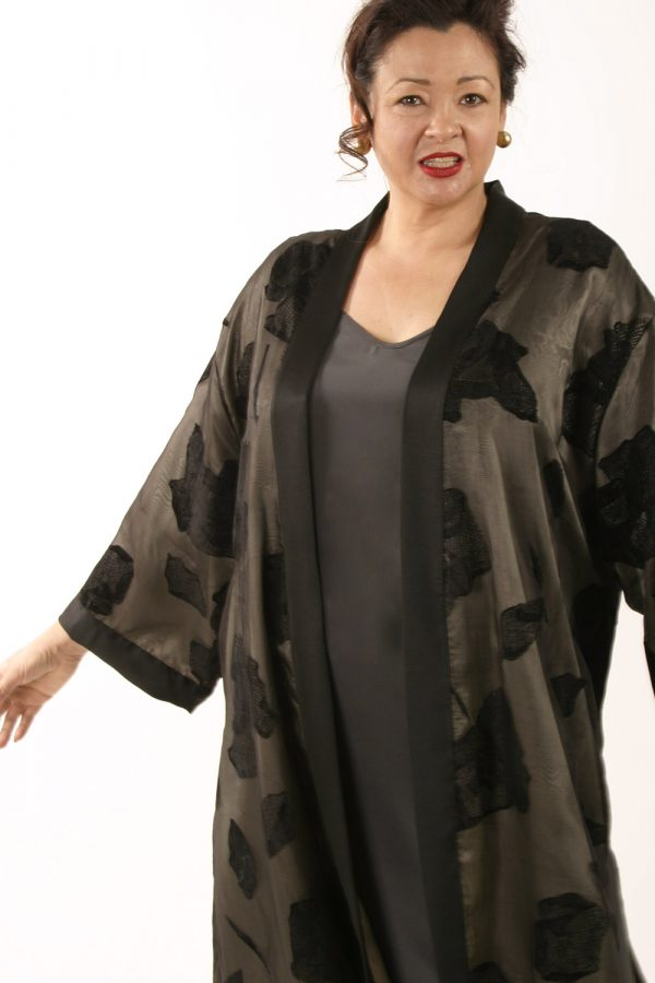 Plus Size Designer Dressy Kimono Jacket Black Grey Silk Sizes 14-32