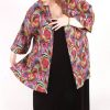 Plus Size Dressy Artwear Kimono Jacket Abstract Italian Naturals Size 26/28