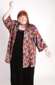 Plus Size Dressy Artwear Kimono Jacket Abstract Italian Naturals Size 26/28