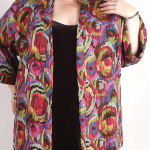 Plus Size Dressy Artwear Kimono Jacket Abstract Italian Naturals 26/28