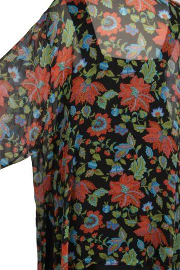 Plus Size Mother of Bride Kimono Jacket Persimmon Green Black Floral Silk Size 30/32