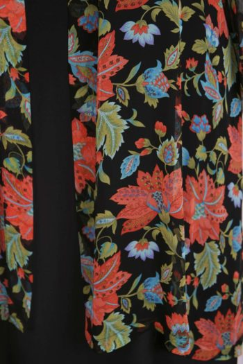 Plus Size Mother of Bride Jacket Persimmon Green Black Floral Silk Georgette Size 30/32