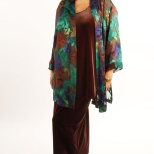 Plus Mother of Bride Kimono Jacket Purple Chocolate Emerald Silk 14/16