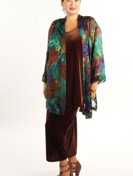 Plus Size Mother of Bride Kimono Jacket Purple Chocolate Emerald Handpainted Silk Devore Size 14/16