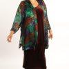 Plus Size Mother of Bride Kimono Jacket Purple Chocolate Emerald Handpainted Silk Devore Size 14/16