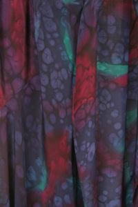 Plus Size Drape Coat Blue Burgundy Abstract Artwear Silk 22/24