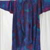 Plus Size Drape Coat Blue Burgundy Abstract Artwear Silk 22/24